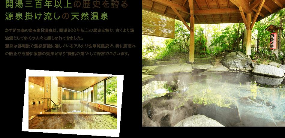 開湯三百年以上の歴史を誇る。源泉掛け流しの天然温泉